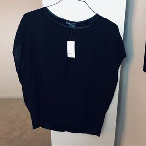 Black Top with Leather Detail